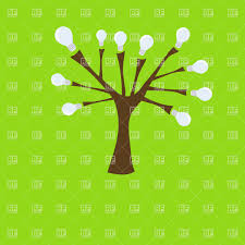 ecology concept tree with light bulbs instead of leaves vector