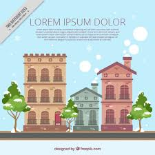 House Flat Design Background Of Old Houses Facades In Flat Design Vector Free Download