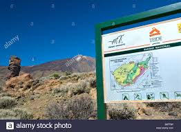 Canary Islands Map Sign And Orientation Map With Las Canadas Rock Formations And