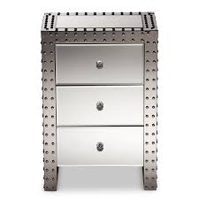 Mirrored Bedside Tables Baxton Studio Azura Modern And Contemporary Hollywood Regency