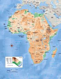 Large Map Of The World Large Elevation Map Of Africa Africa Mapsland Maps Of The World