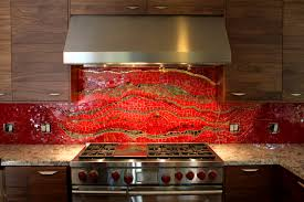 Red Kitchen Backsplash Tiles Bathroom Interesting Red Backsplash Burnt Tiles Kitchen For
