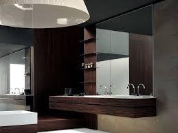 bathroom black modern bathroom vanity set with white brick wall