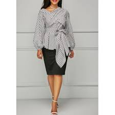 belted blouse sleeve stripe print belted blouse