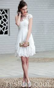 white lace dress with sleeves knee length lace cap sleeves white knee length ruffled prom dress 2012