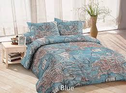 blue red brown duvet cover map queen king bedding set bedding bag