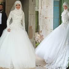 Chapel Train Wedding Dresses Discount High Neck Long Sleeves Wedding Dresses Muslim Lace