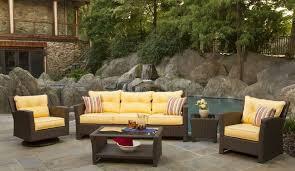 Outdoor Excellent Wicker Patio Furniture Set With Yellow Cushions - Yellow patio furniture