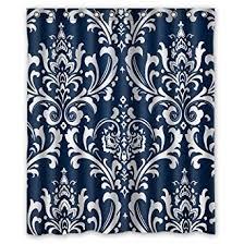 Blue Damask Shower Curtain Futefew Personalized Bathroom Decor Navy Blue Damask
