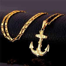 free gold necklace images Free shipping vintage navy anchor 18k gold platinum plated necklace jpg