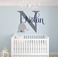 Boys Nursery Wall Decals Custom Elephant Name Wall Decal For Boys Baby Boys