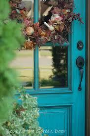 door accent colors for greenish gray beyond the screen door turquoise front door thinking to do this