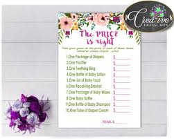 baby shower watercolor flowers the price is right game in