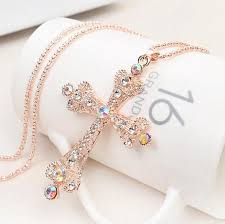 crystal cross pendant necklace images Wholesale new cross necklaces casual fox blower necklaces for jpg
