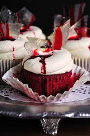 halloween red bloody velvet cupcakes