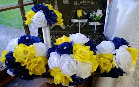 Royal Blue Wedding 17 Piece Royal Blue Yellow White Rose Wedding Bouquet Silk Flower