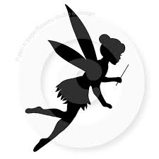 cute silhouette flying fairy tattoo stencil