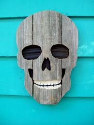 skull made of recycled wood and plastic upcycled fence wood