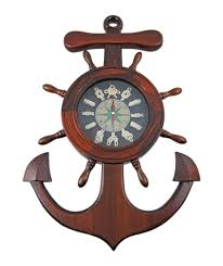 Wooden Wall Clock Amazon Com Wooden Ship U0027s Wheel Anchor Sailor U0027s Knot Wall Clock