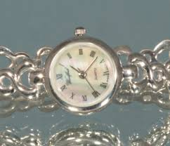 sterling silver bracelet watches images Solid silver ladies mop round face bracelet watch jpg