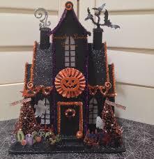 light up halloween putz house village glittered lighted glitter