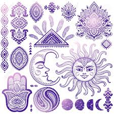 sun moon and ornaments vintage vector isoalted set royalty free