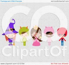 halloween children background cartoon of cute children in witch princess pig super hero