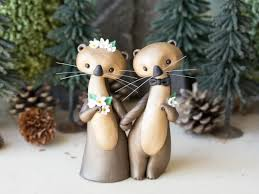 wedding cake ornament sea otter wedding cake topper by bonjour poupette 2540047 weddbook