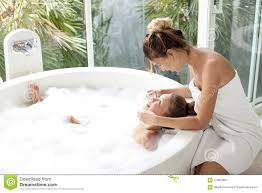 Mom In Bathtub Mother With A Child Washing In Bath Stock Photo Image 67395869