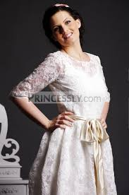 a line scoop neck half sleeves layered lace tea length wedding