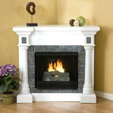 two sided corner fireplace screen electric grey tile pillars