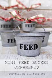 diy rustic ornaments tiny metal feed buckets