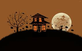 spooky house bats cat night full moon hallowmas halloween