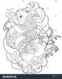 hand drawn outline koi fish tattoo stock vector 615422369