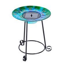 smart solar argus peacock glass solar birdbath 20221r01 the home
