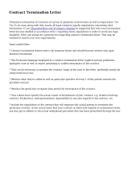 Breach Of Employment Contract Letter Sle how to write a termination letter for cell phone contract