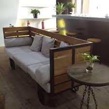 country old vintage wrought iron wood loft sofa tea shop bar