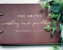 engraved wedding guest book rustic guest book etsy