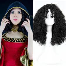 Mother Gothel Halloween Costume 50cm Black Long Curly Anime Tangled Mother Gothel Cosplay