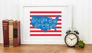 from sea to shining sea american flag instant download