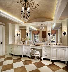 Luxury Traditional Bathroom Design Interior With Chessboard - White cabinets bathroom design