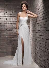 One Shoulder Wedding Dress One Shoulder Swarovski Crystal Chiffon Wedding Dress With Slit Strap