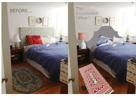 bedroom before and after tiptoethrough before and after diy headboard makeover