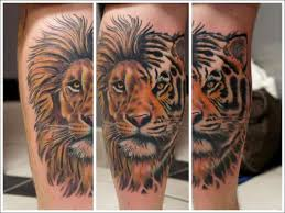 lion tiger mix calf tattoo