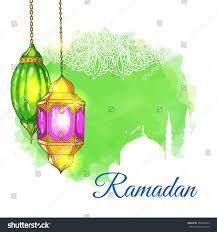 mosque arabic lanterns green watercolor stock vector
