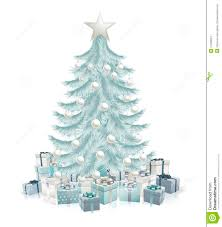 Blue And Silver Christmas Tree - silver blue christmas tree and gifts illustration 21458624 megapixl