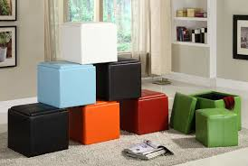 comfortable leather cube storage ottoman u2014 railing stairs and