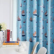 font blue sailing boys bedroom curtains kids blackout boat orange