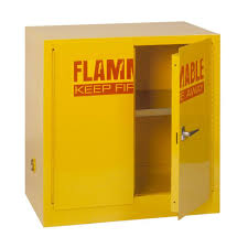 Yellow Flammable Storage Cabinet Edsal 35 In H X 35 In W X 22 In D Steel Freestanding Flammable