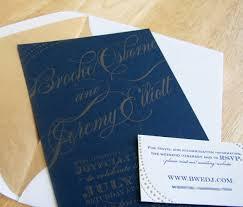 custom letterpress wedding invitation navy and gold